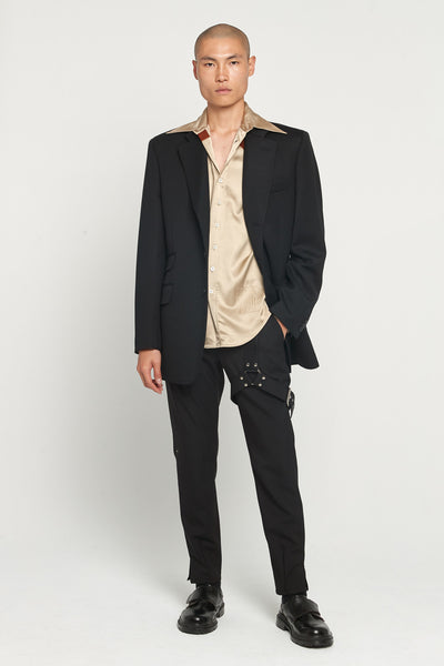 Sand Rust Contrast Viscose Satin Shirt