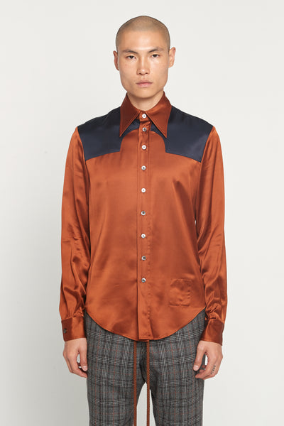 Maison Margiela - Rust Navy Contrast Viscose Satin Shirt
