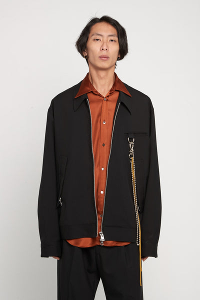Song for the mute - Gabardine Oversized Coach Jacket Black