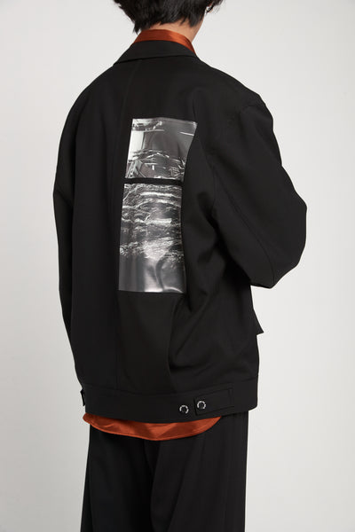 Gabardine Oversized Coach Jacket Black