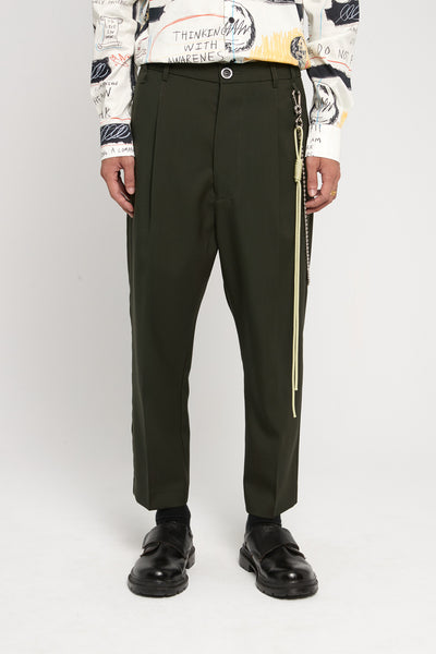 Song for the mute - Gabardine Pleated Tapered Pants Green