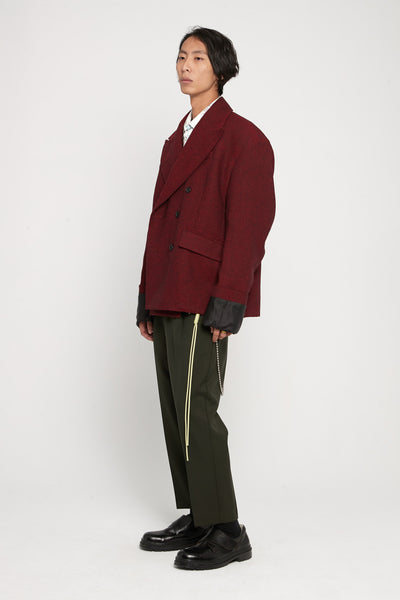Gabardine Pleated Tapered Pants Green