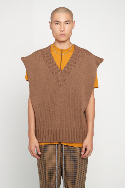 Yang Li - Oversized V-Neck Sweater Brown Melange
