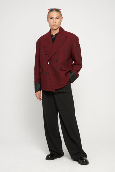 Oversized Double Breasted Blazer Dark Red