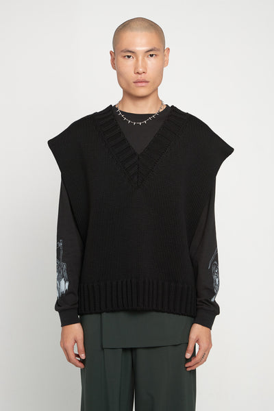 Yang Li - Oversized V-Neck Sweater Black