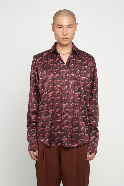 Yang Li - Classic Printed Shirt Dark Red Print
