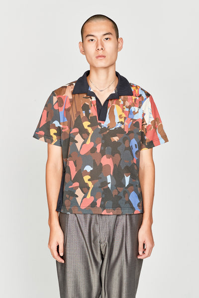 Wales Bonner - Buttoned Detailed Polo Shirt Multicolor Crowd Print