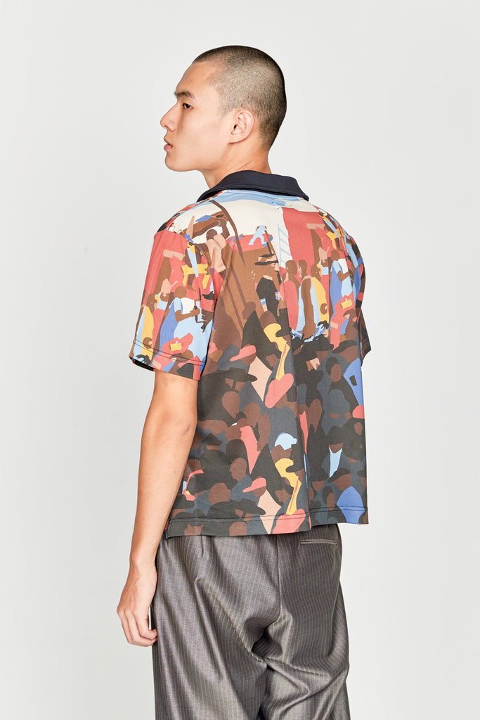 Buttoned Detailed Polo Shirt Multicolor Crowd Print