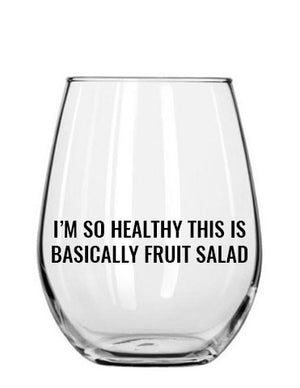 fruit salad. wine glass