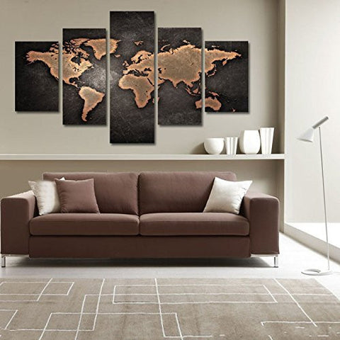 5 Panel Vintage World Map