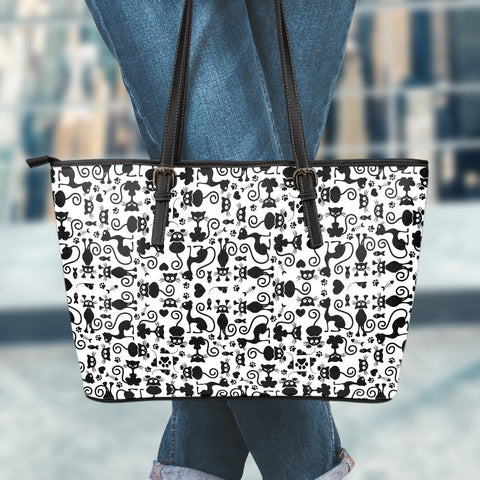 Cats White Small Leather Tote Bag