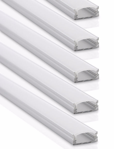 Aluminum Channel System for LED Strip Lights (5-Pack) - Dropality - 1