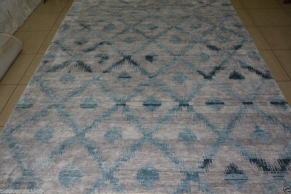 10201 - Vegetable Dye Wool and Silk Large Rug - 300X400cm