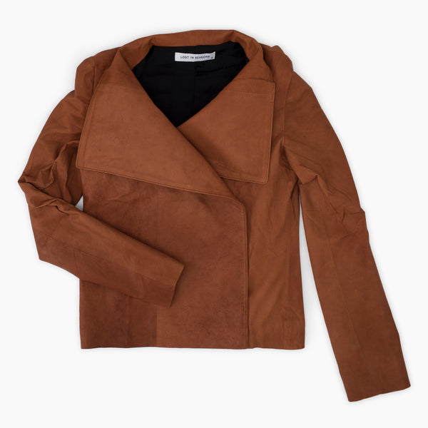 Collared Leather Jacket Cognac