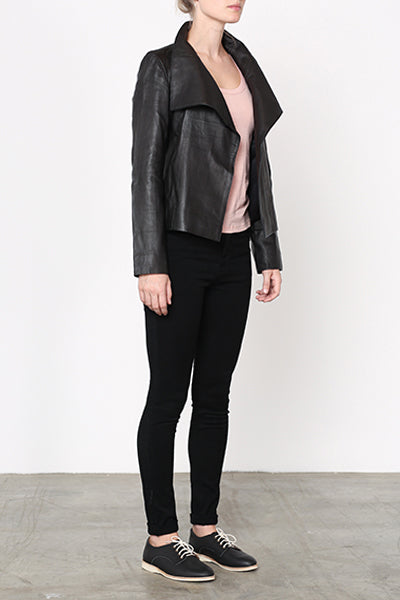 Collared Leather Jacket Black