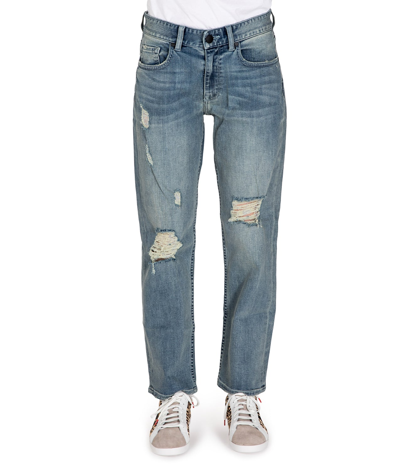 Womens Boyfriend Distressed / Light Indigo Blue