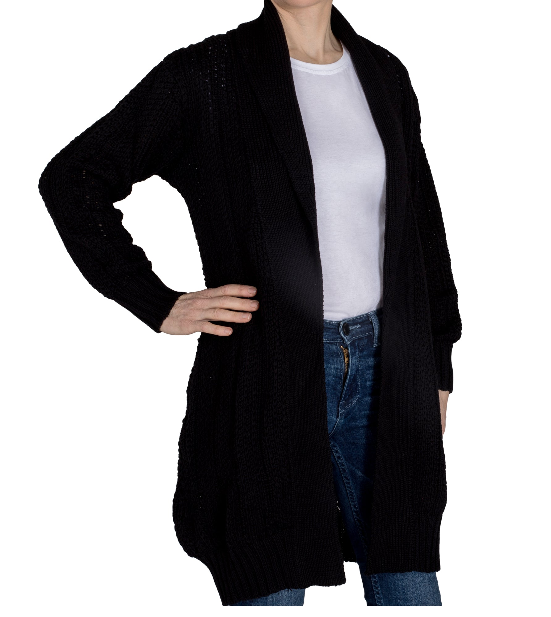 Long Heavy Cardigan Black