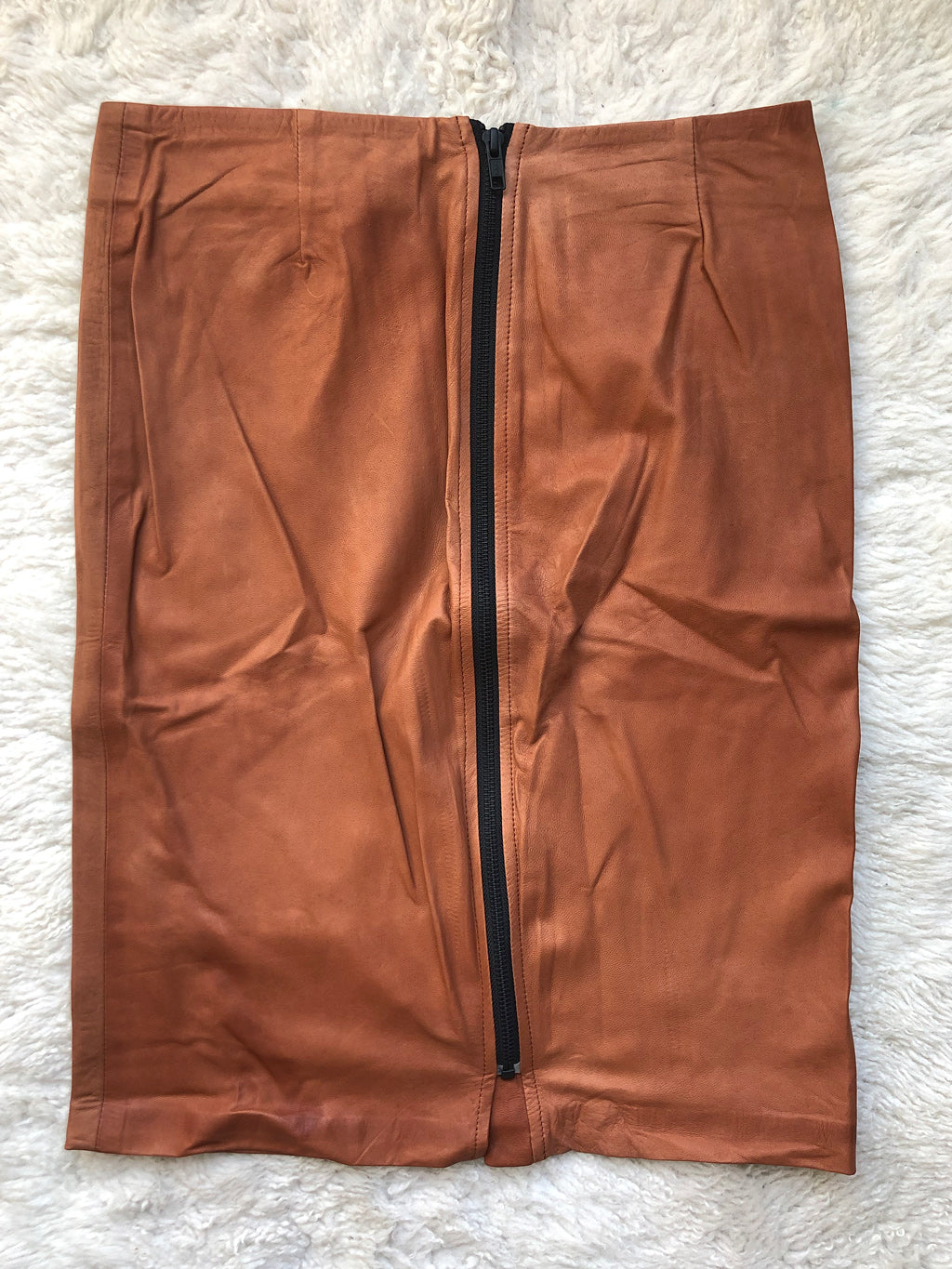 Pencil Skirt with Back Zip Cognac