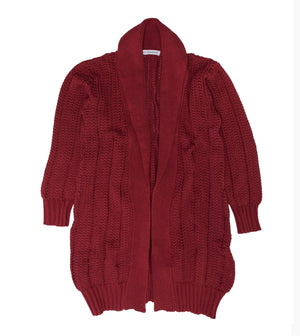 Long Heavy Cardigan Red Pear