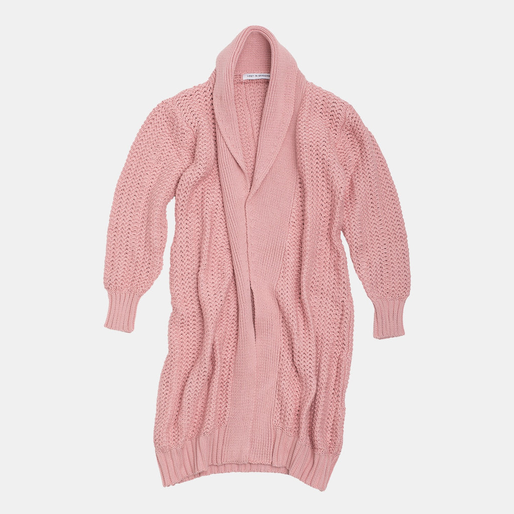 Long Heavy Cardigan Dusty Rose (PRE-ORDER: APRIL 15 DELIVERY)