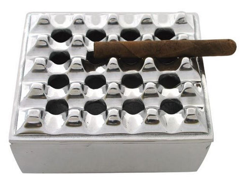 7in Square Grid Cigar Ashtray Polished Aluminum