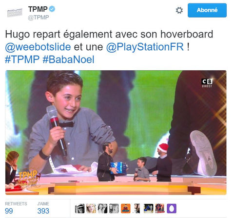 weebot, TPMP, touche pas à mon poste, cyril hanouna, contact TPMP, hoverboard, médias, canal 8, direct 8