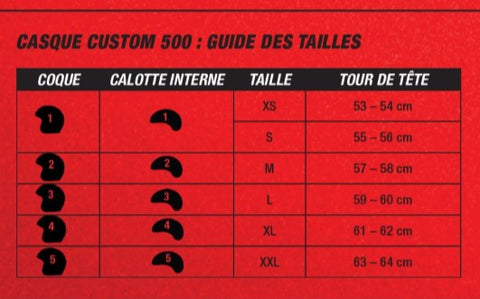 Guide taille casque ball Custom500 c500