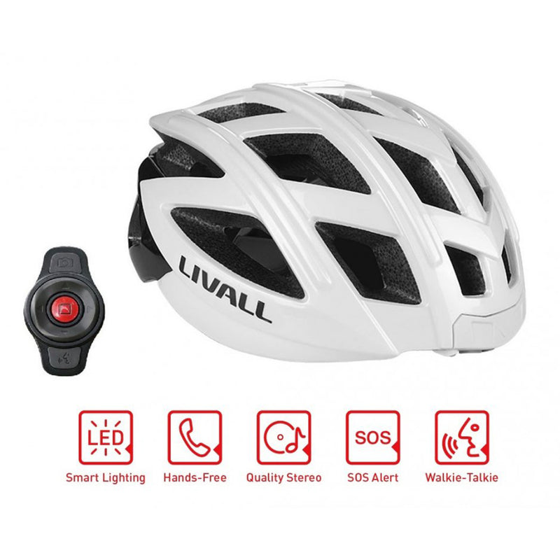 casque velo led livall bling bh60se blanc fonctionnalites