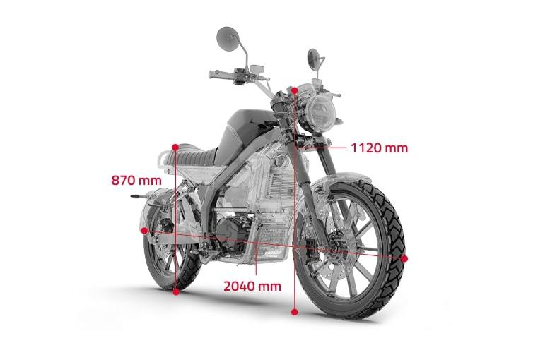 moto electrique horwin cr6 dimension