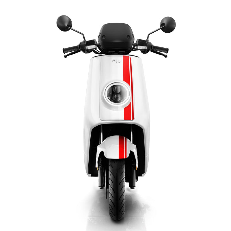scooter electrique niu ngt 125 blanc rouge phare avant