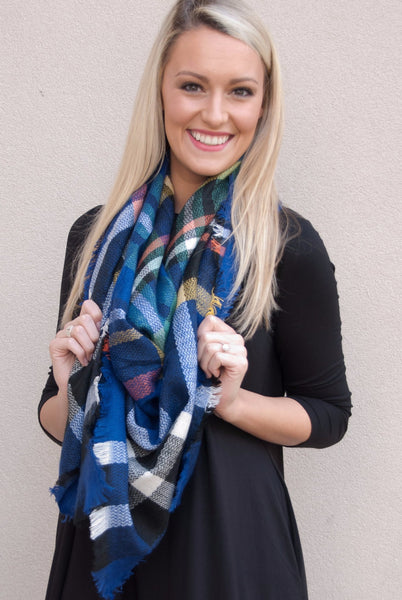 Blanket Scarf in Royal Blue - Lovelea Boutique