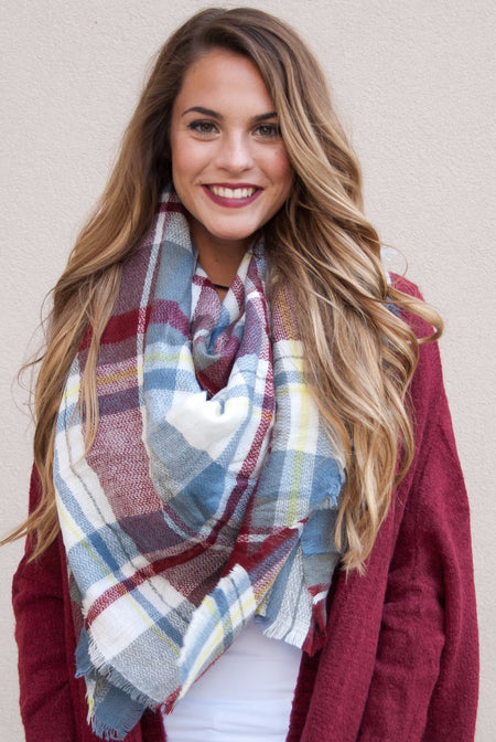 Blanket Scarf in Navy & Red