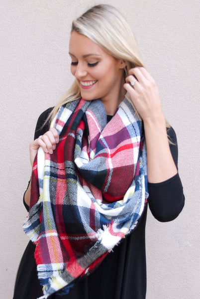 Blanket Scarf in Reds & Blues