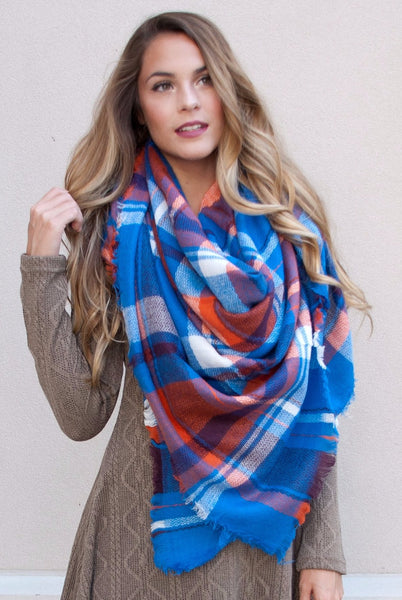 Blanket Scarf in Blue & Orange - Lovelea Boutique