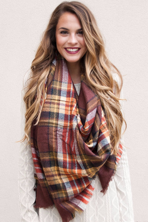 Blanket Scarf in Burgundy Fall