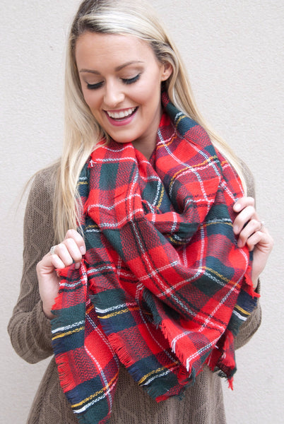Blanket Scarf in Christmas Red - Paperback Boutique