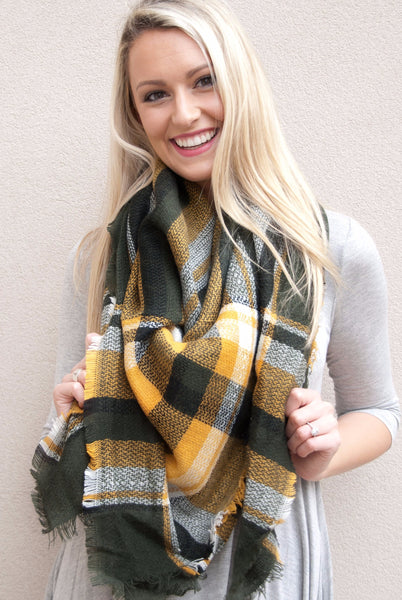 Blanket Scarf in Deep Green & Yellow