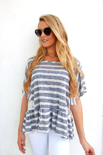 Navy Striped Oversized Blouse - Paperback Boutique