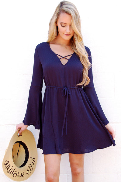 Navy Bell Sleeve Dress - Paperback Boutique