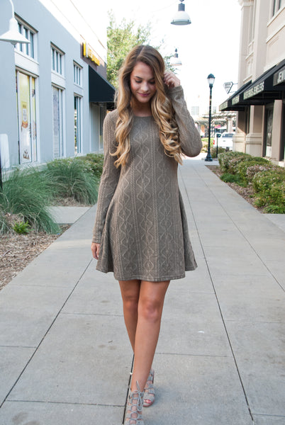 Perfect Knit Sweater Dress in Mocha - Paperback Boutique