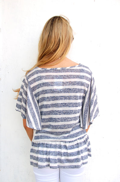 Navy Striped Oversized Blouse - Lovelea Boutique