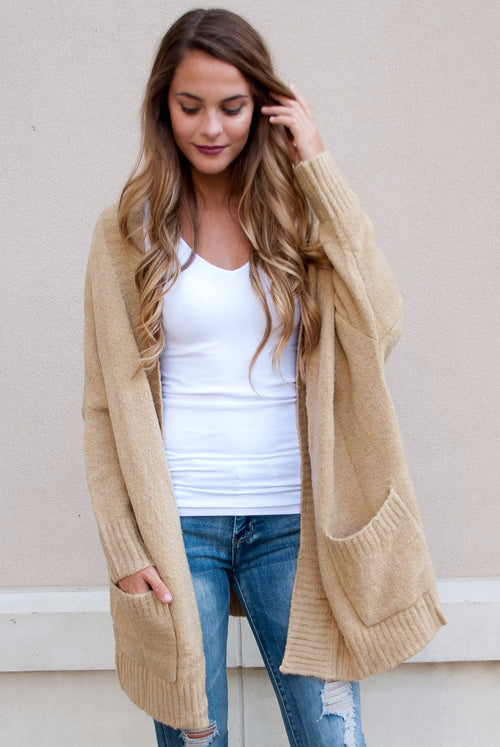 Oversized Knit Cardigan in Oatmeal - Paperback Boutique