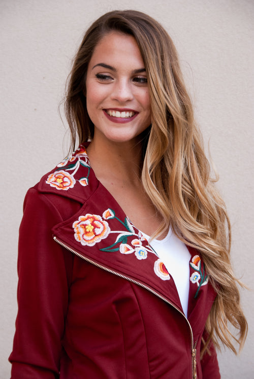 Embroidered Lightweight Jacket in Wine