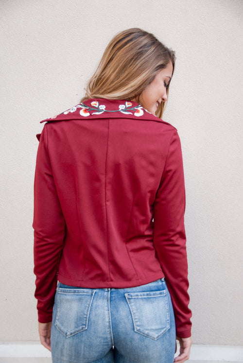 Embroidered Lightweight Jacket in Wine - Lovelea Boutique