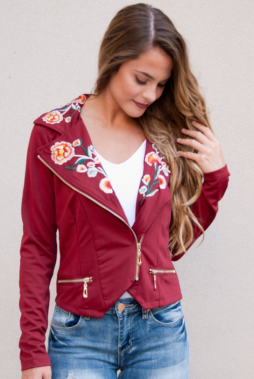 Embroidered Lightweight Jacket in Wine - Paperback Boutique