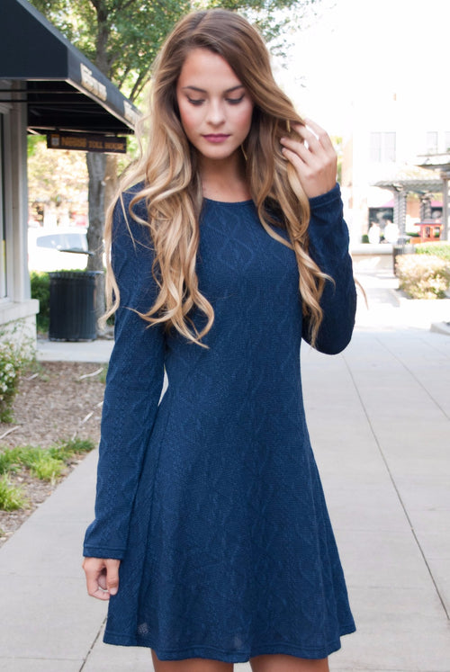 Perfect Knit Sweater Dress in Navy - Lovelea Boutique