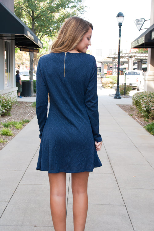 Perfect Knit Sweater Dress in Navy - Paperback Boutique