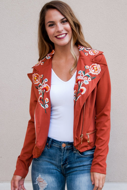 Embroidered Lightweight Jacket in Rust - Lovelea Boutique