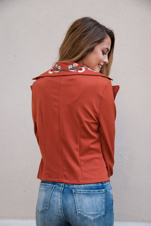 Embroidered Lightweight Jacket in Rust