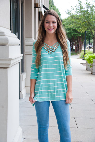 Stripe Criss Cross Top in Mint - Paperback Boutique